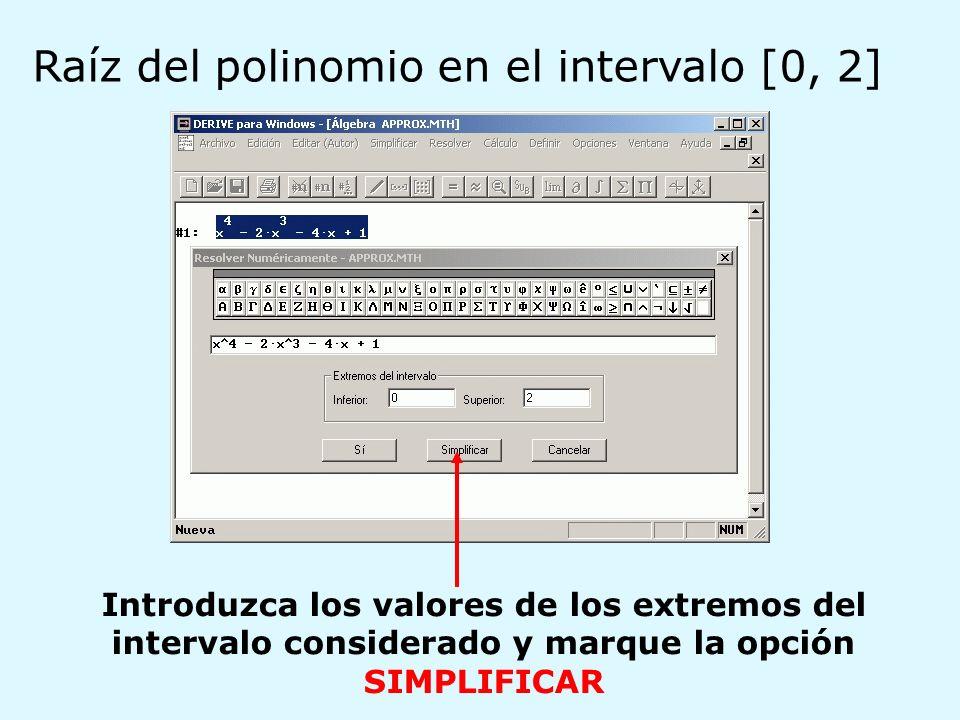 Raíz del polinomio en el intervalo [0, 2]